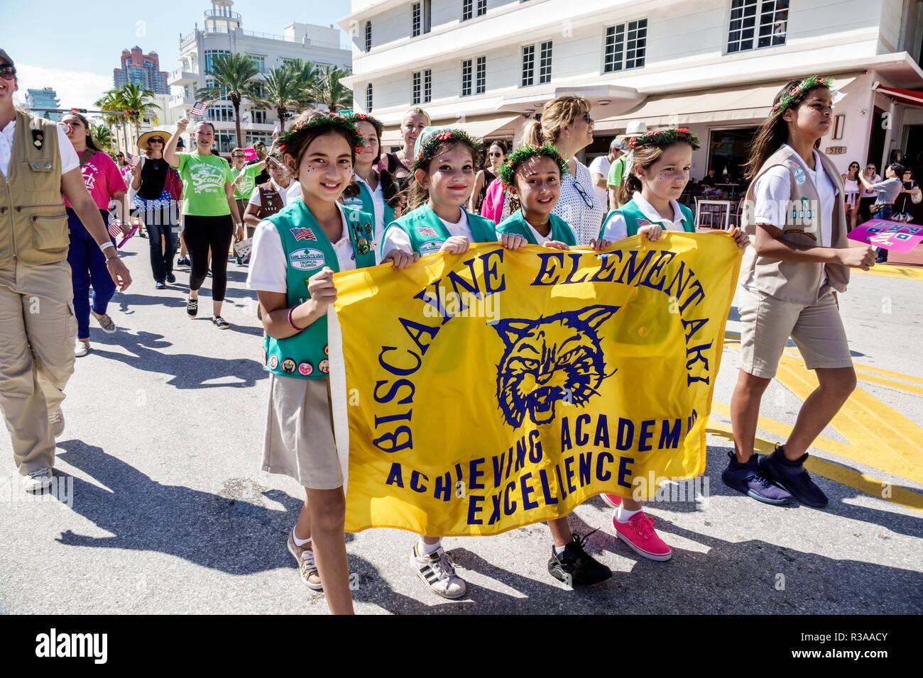 Miami Beach Florida Ocean Drive Veterans Day Parade
