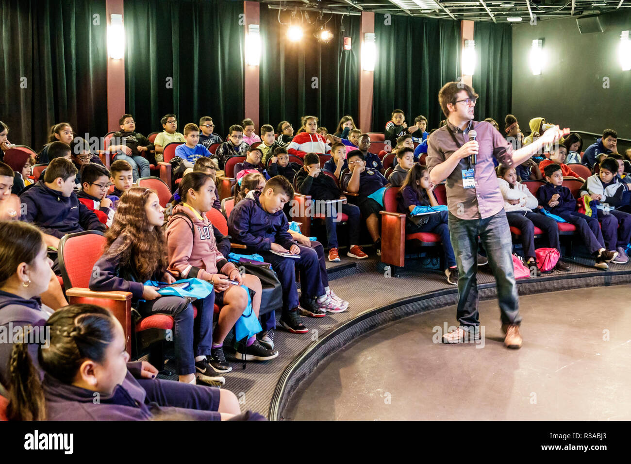 Miami Miami Florida-Dade College Book Fair annual event author comic book artist Drew Weing Creepy Case Files of Margo Maloo speaking audience student - Stock Image