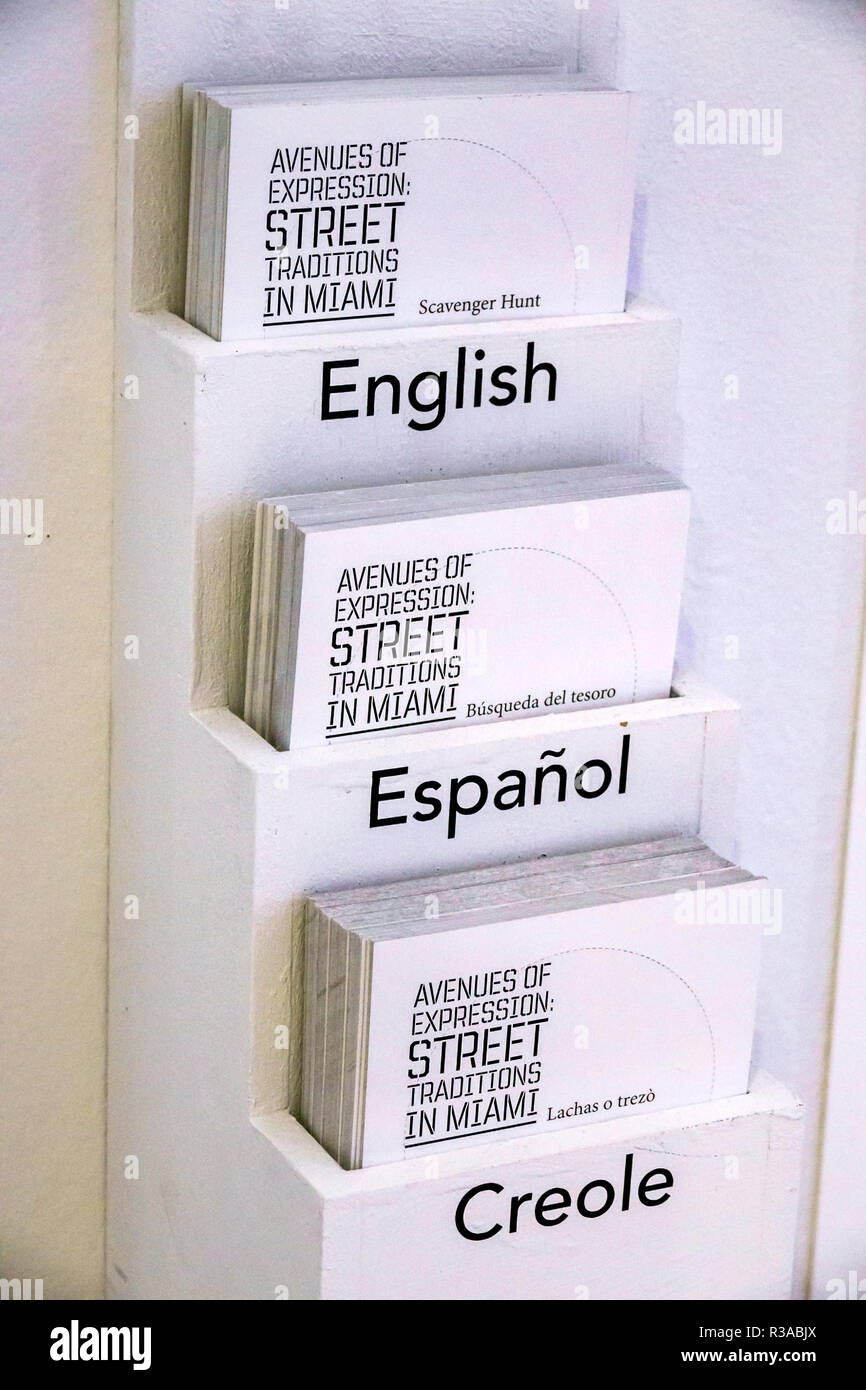 Miami Florida History Miami Museum brochures folders information English Spanish Creole languages bilingual - Stock Image
