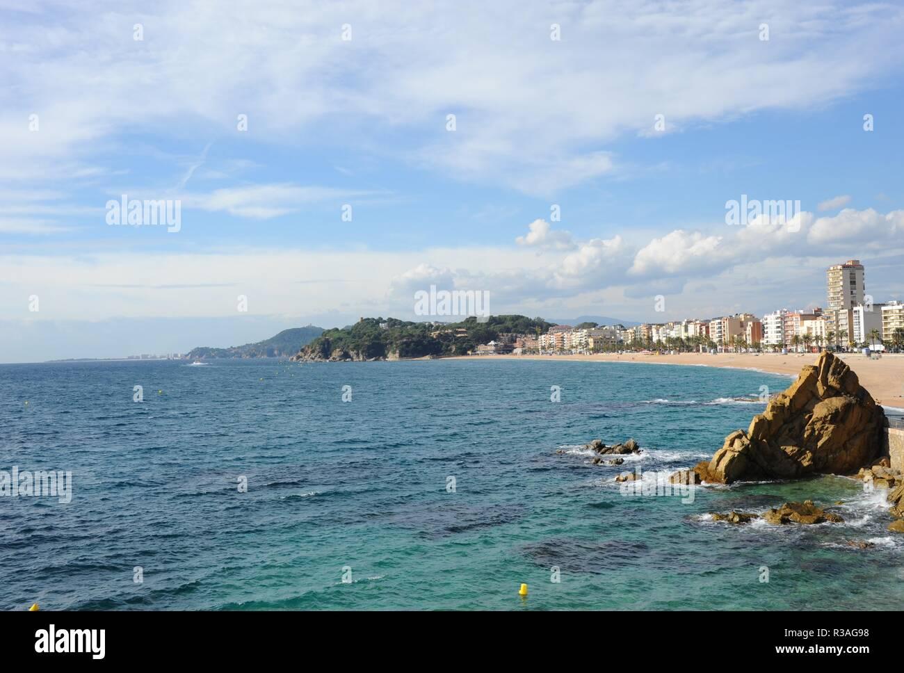 facades,lloret de mar,costa brava,spain,mediterranean sea - Stock Image