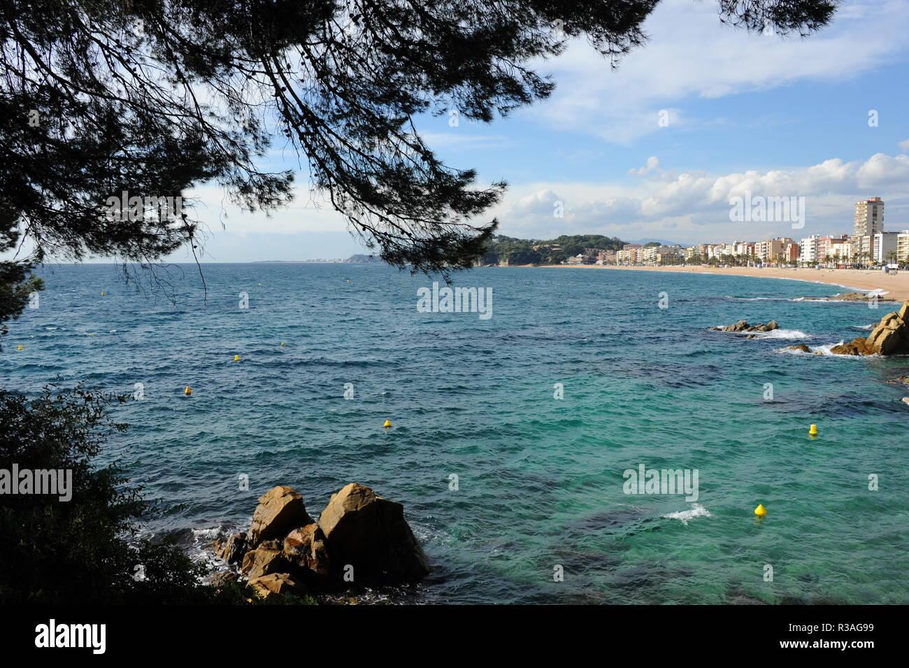 facades,lloret de mar,costa brava,spain,mediterranean - Stock Image