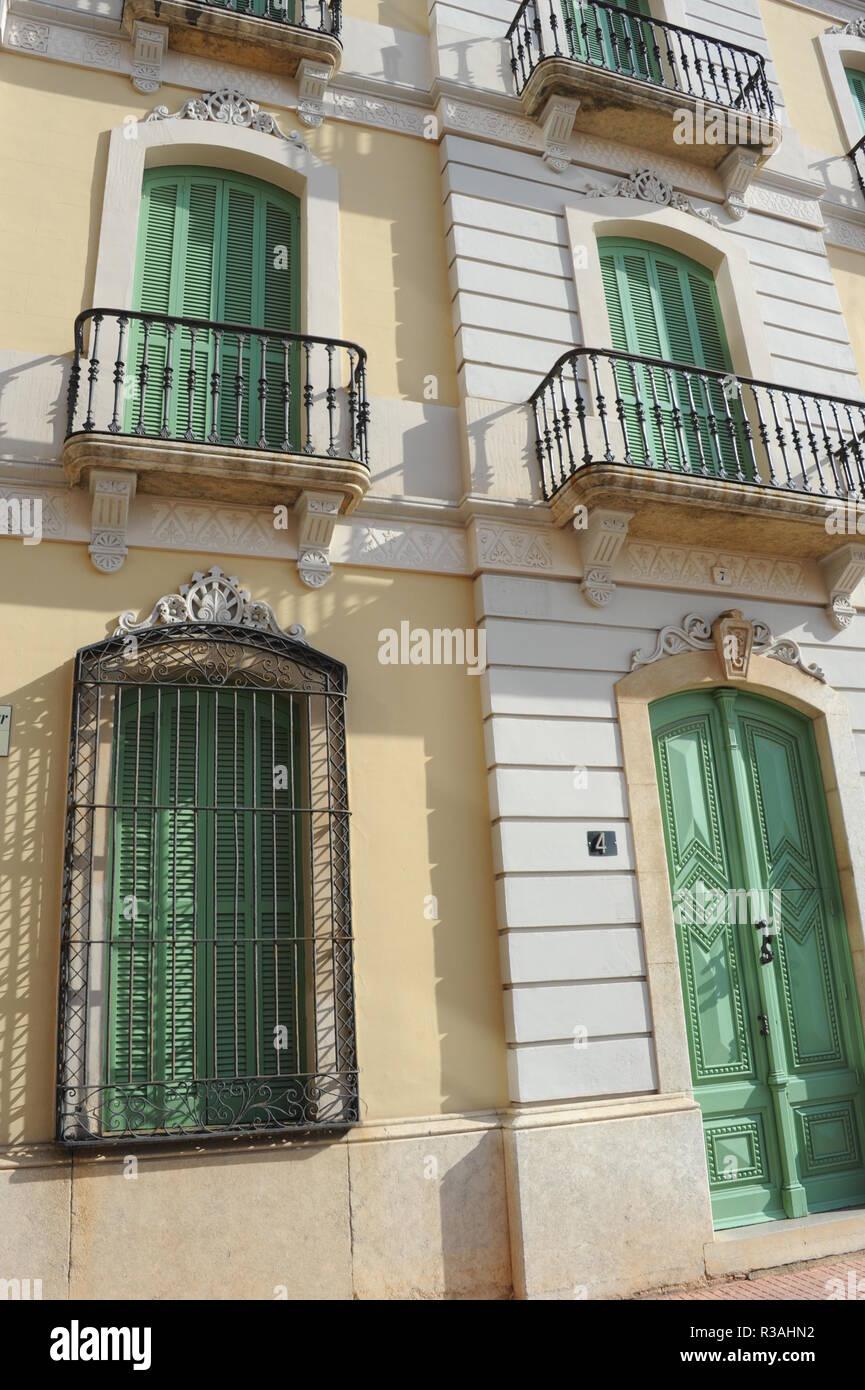 house facades in spain - lloret de mar - costa brava - - Stock Image