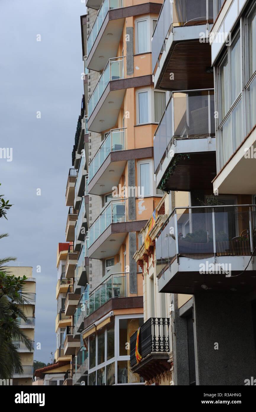 house fronts in spain - lloret de mar - costa brava - - Stock Image