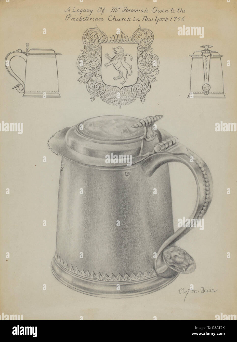Silver Tankard. Dated: C. 1936. Dimensions: Overall: 30.7 X 22.8