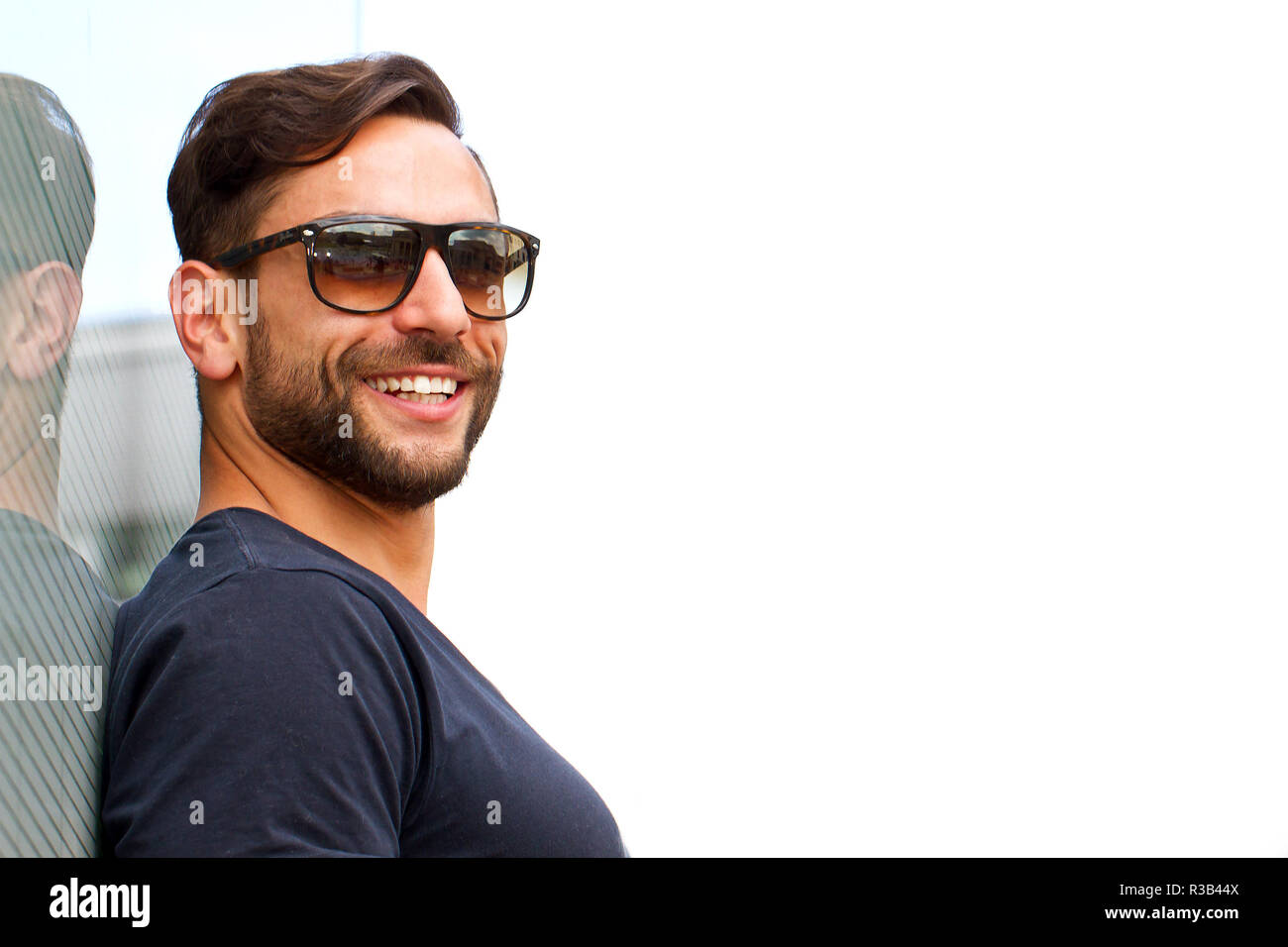 young attractive man with sunglasses Stock Photo