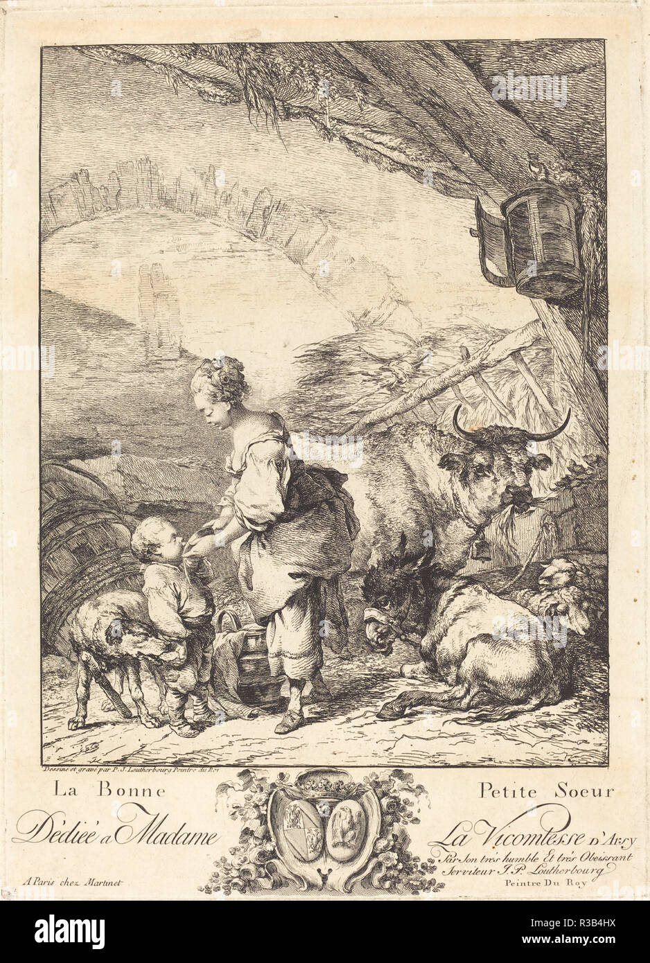 La bonne petite soeur. Medium: etching. Museum: National Gallery of Art, Washington DC. Author: Philippe Jacques de Loutherbourg II. Philippe Jacques De Loutherbourg. - Stock Image