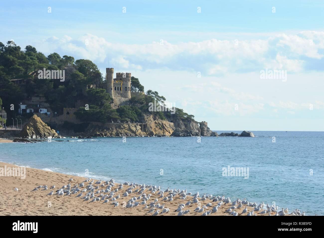 lloret de mar,costa brava,spain,private castle - castillo - Stock Image