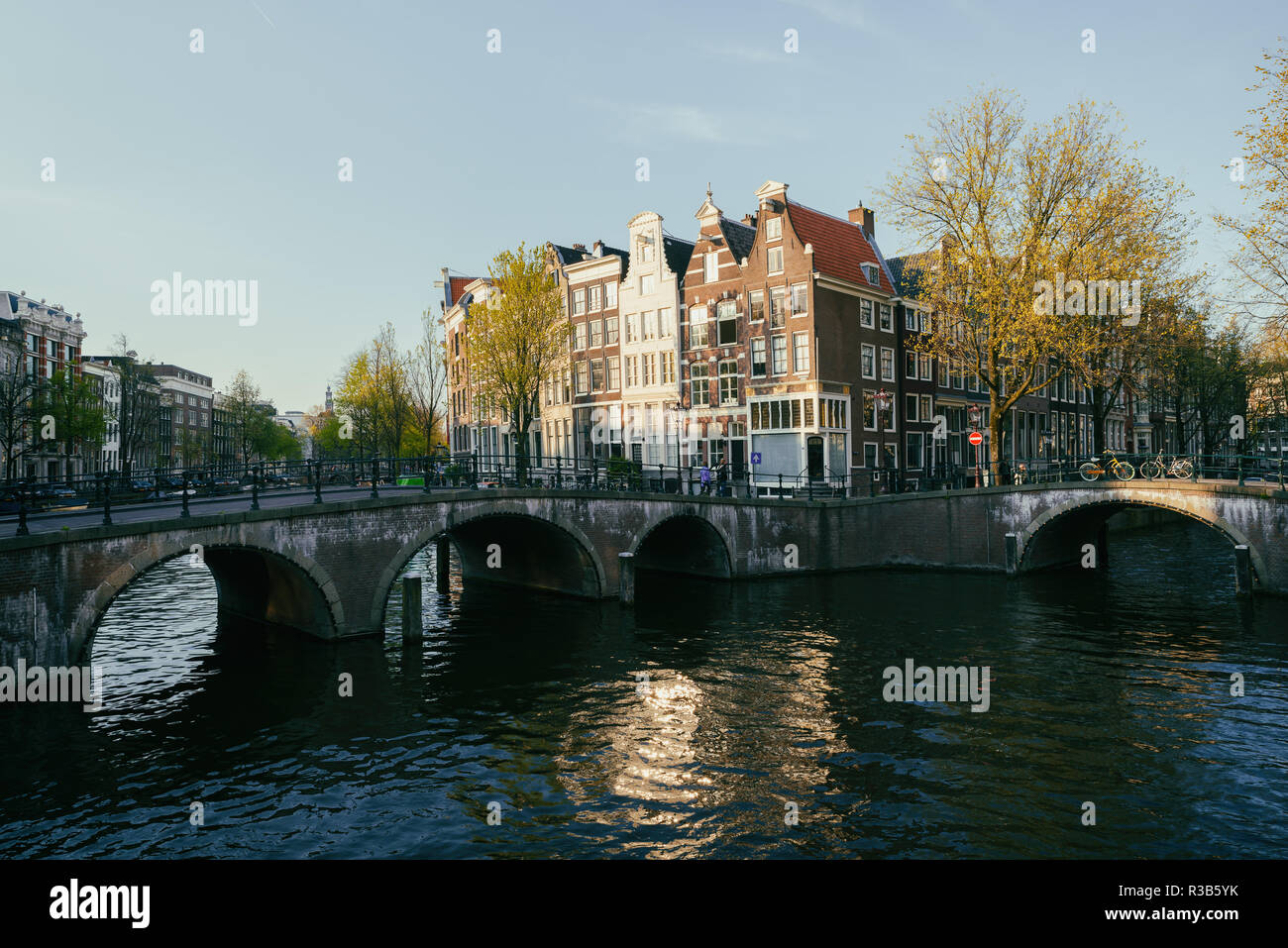 Netherlands traditional houses and Amsterdam canal in Amsterdam ,Netherlands. Vintage tone. - Stock Image