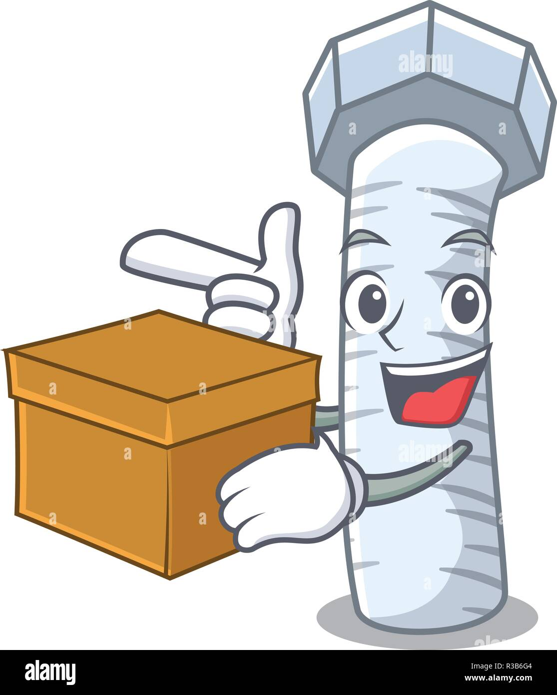 With box Metal bolt that isolated on mascot - Stock Image