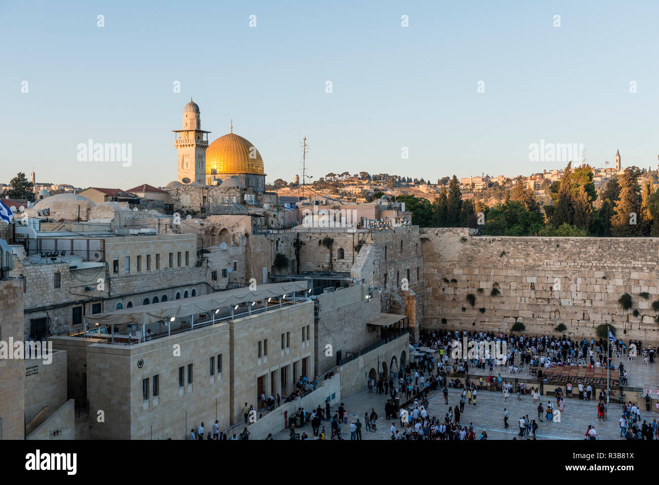 Dome of the Rock, also Qubbat As-sachra, Kipat Hasela, with Wailing Wall, Old Town, Jerusalem, Israel - Stock Image