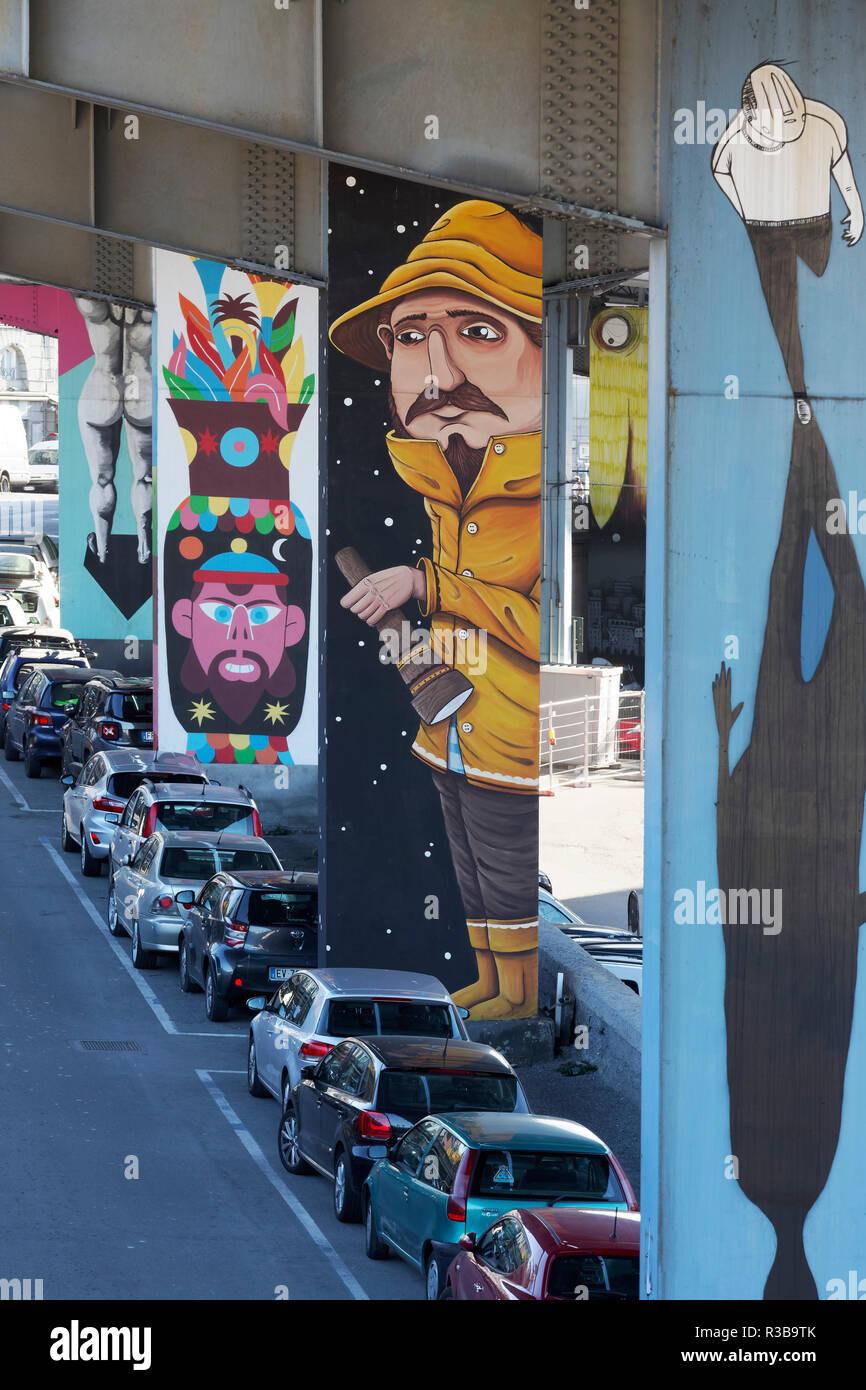 Detective, Graffito on a pillar of the city highway Sopraelevata Aldo Moro, Streetart, Old Town, Genoa, Liguria, Italy - Stock Image