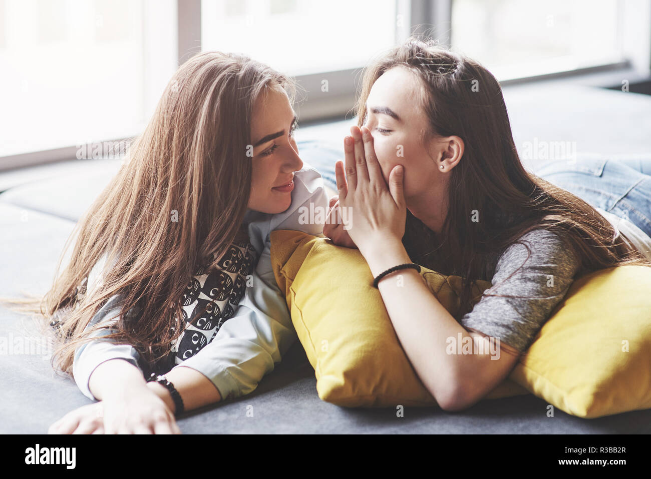Two beautiful young twins sisters spending time together with pillows. Siblings having fun at home concept - Stock Image