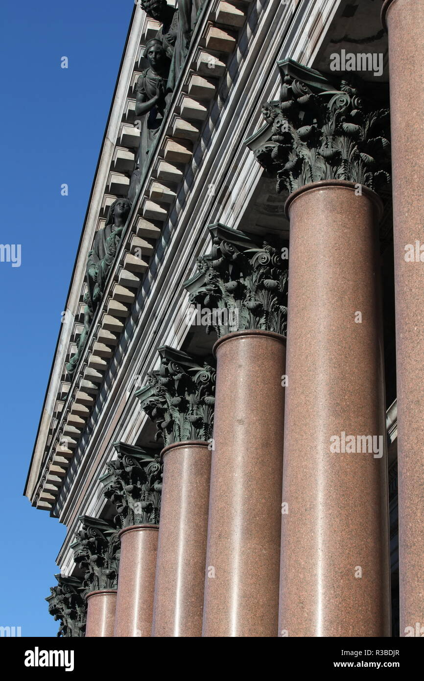 columns with  decorated chapiter background blue sky - Stock Image