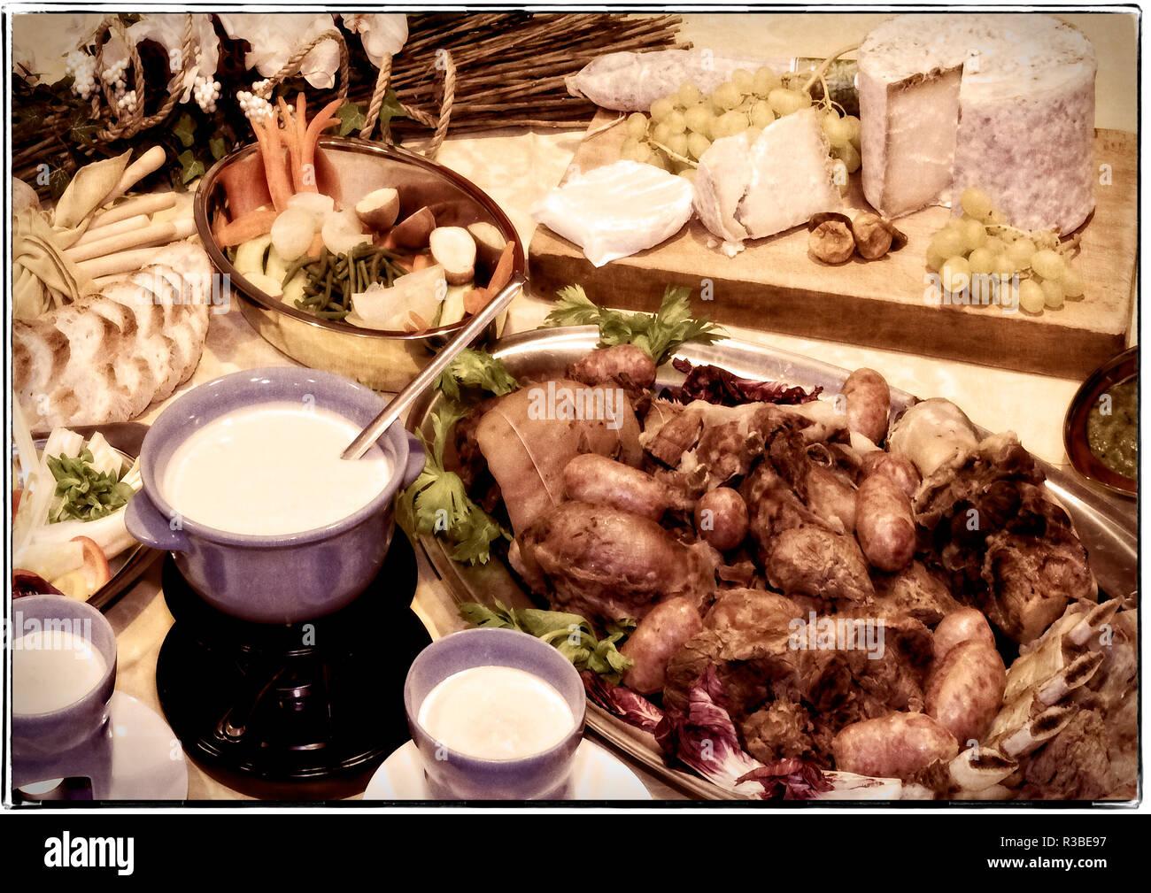 Piedmont Villafalletto Restaurant agli Alteni Bolito Misto alla piemontese e salse Stock Photo
