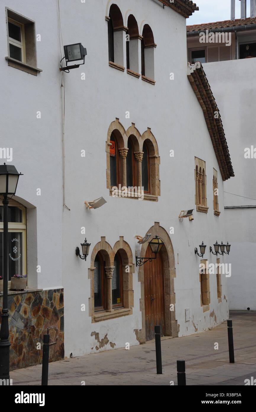 house facades in tossa de mar,costa brava,spain - Stock Image