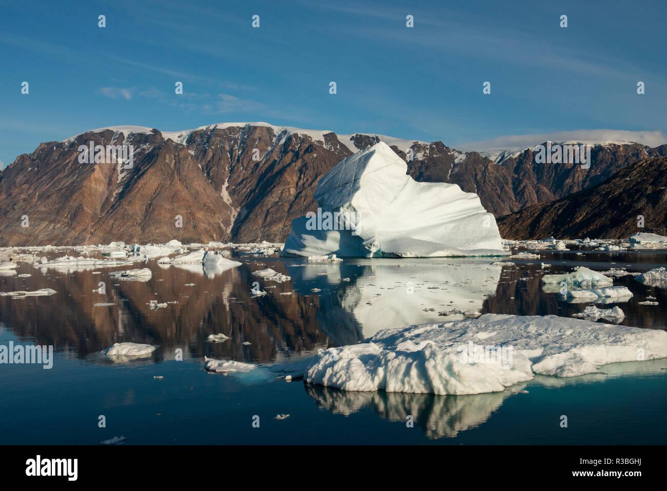 Eastern Greenland, Scoresbysund, aka Scoresby Sund. Scenic ice filled Oer Fjord. Stock Photo