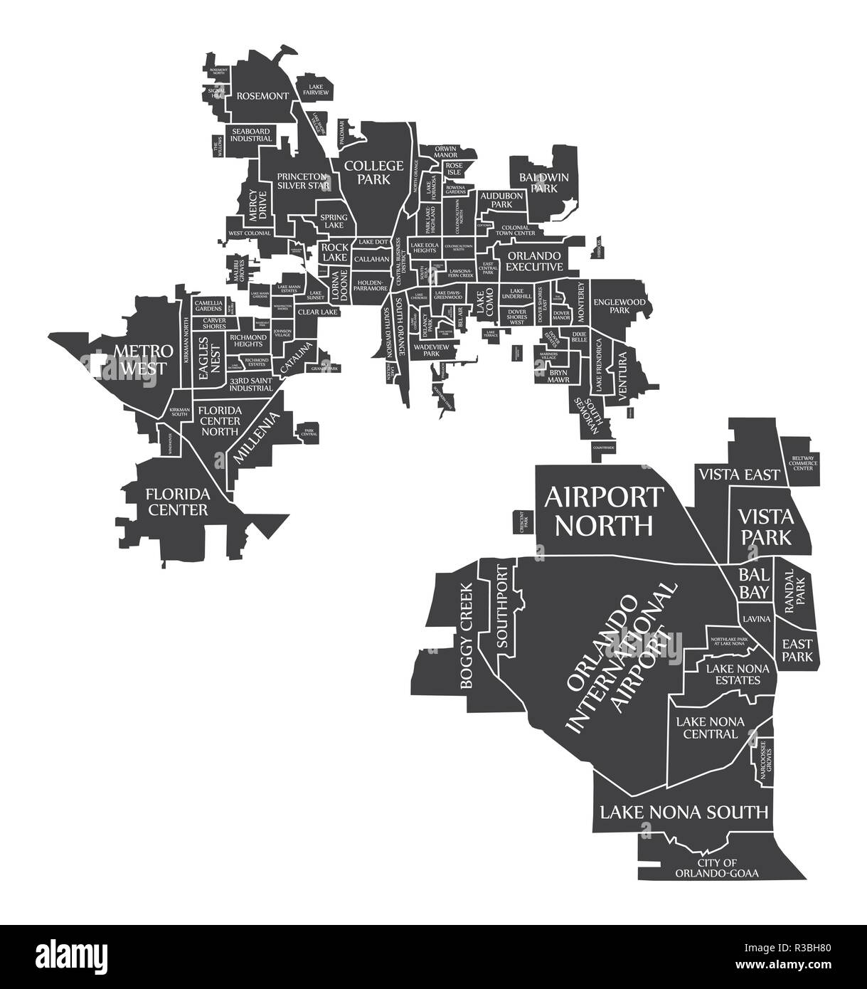 Florida City Map.Orlando Florida City Map Usa Labelled Black Illustration Stock
