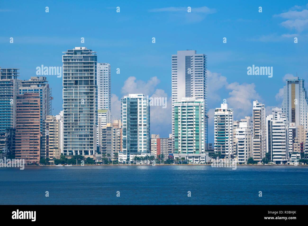 South America, Colombia, Cartagena. Modern Boca Grande area city skyline view from Cartagena Bay. Stock Photo
