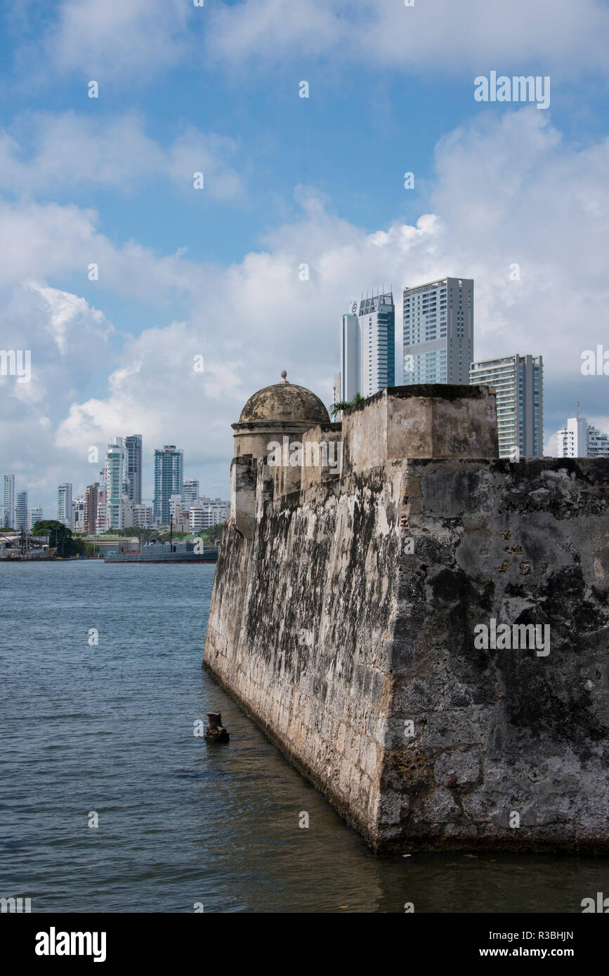 South America, Colombia, Cartagena. Historic walled city center, city walls that surround the old town. Stock Photo