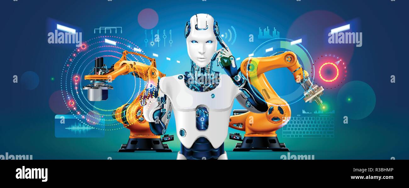 Industry 4 0 Concept Banner Robot With Ai Control Production Line