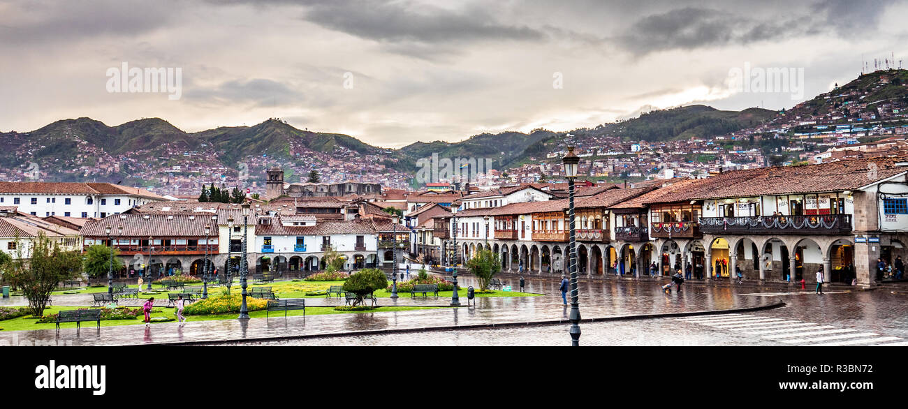 Cusco, Peru - January 7, 2017. View of a side of the Plaza de Armas square in a rainy day - Stock Image