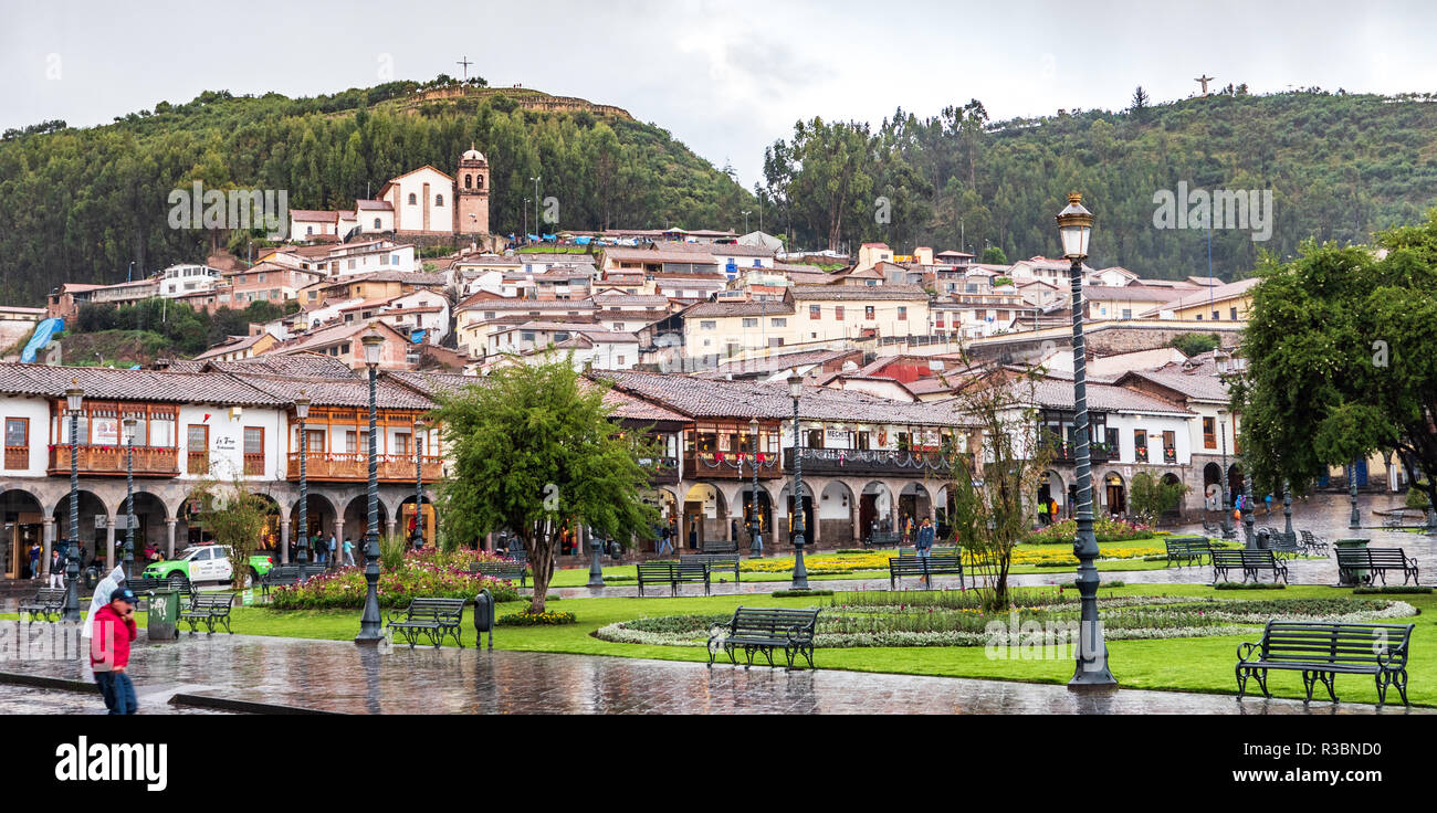 Cusco, Peru - January 6, 2017. View of a side of the Plaza de Armas square in a rainy day - Stock Image