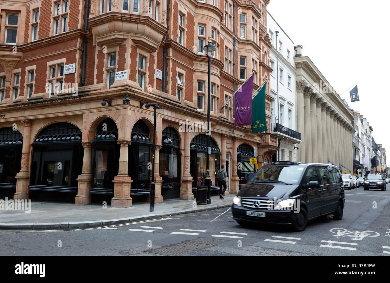 Asprey the Jewellers on corner of Albermarle Street and Grafton Street, Mayfair, London, UK - Stock Image