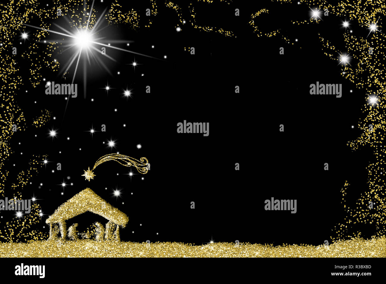 Elegant Christmas Nativity Scene Greetings Cards Abstract Freehand