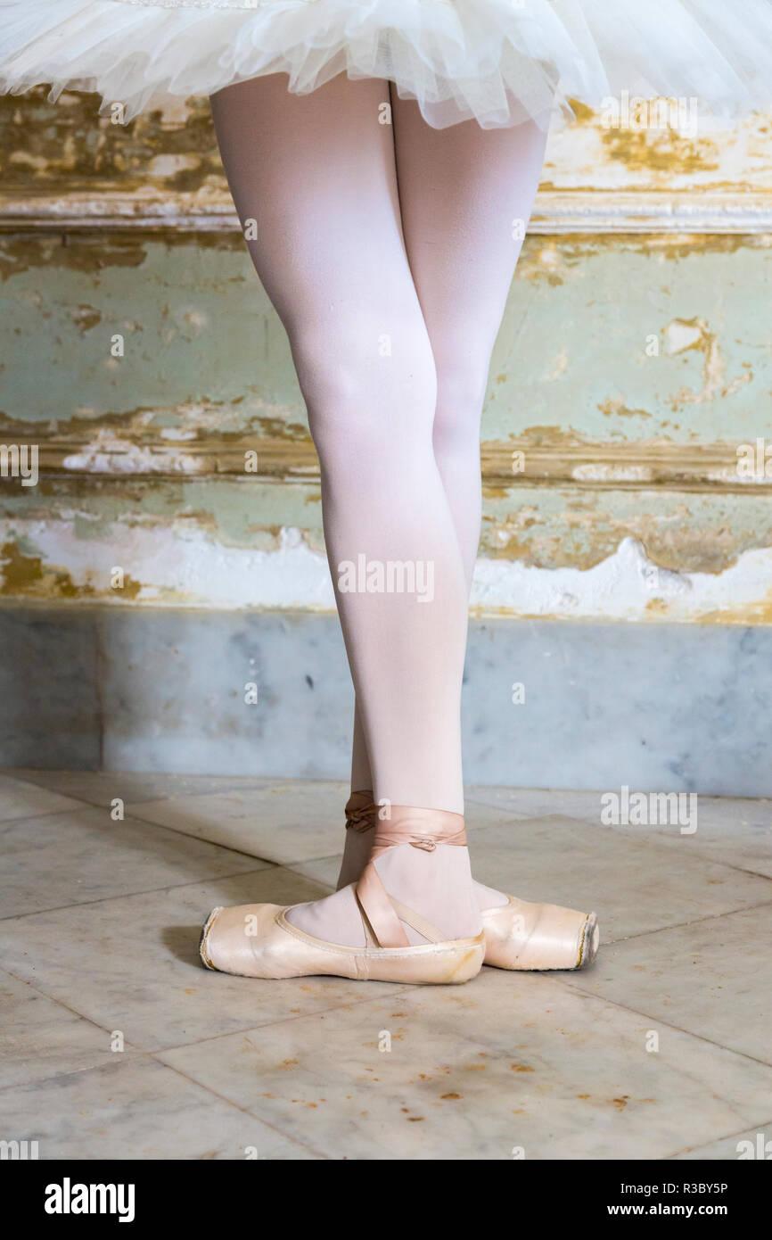 Cuba, Havana. Ballet position of ballerina's legs and feet. Credit as: Wendy Kaveney / Jaynes Gallery / DanitaDelimont.com Stock Photo