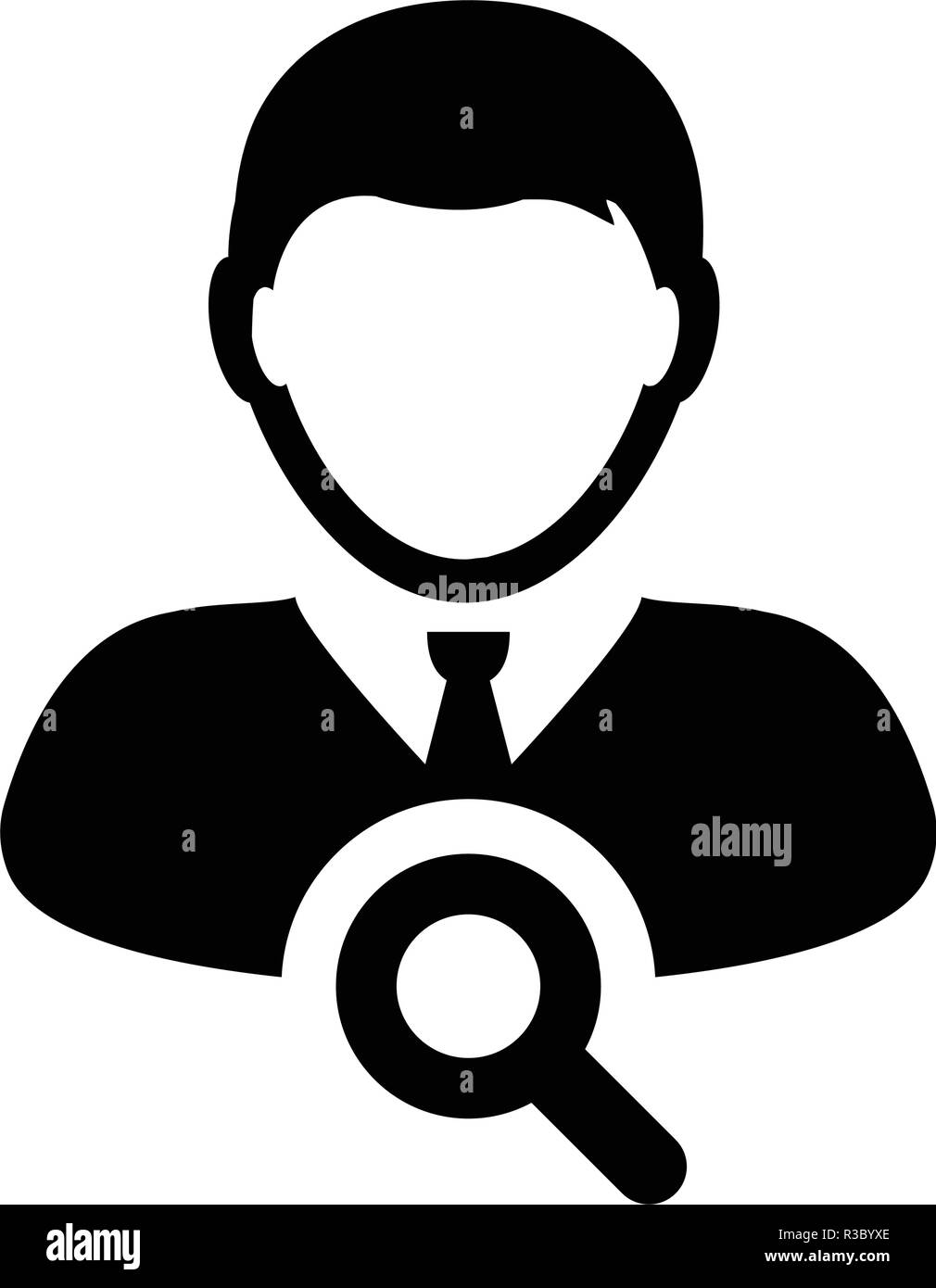 Search user icon vector male person profile avatar symbol with magnifying glass in flat color glyph pictogram illustration - Stock Image