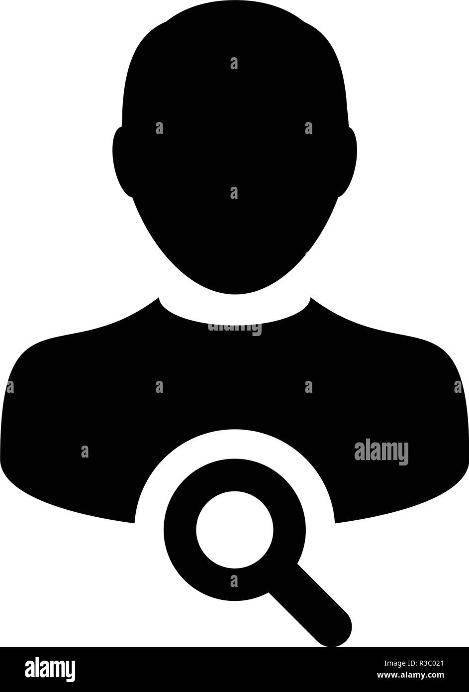 Magnifying glass icon vector male user person search profile avatar symbol in flat color glyph pictogram illustration - Stock Image