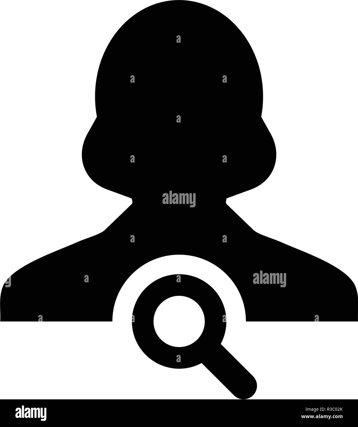Search user icon vector female person profile avatar symbol with magnifying glass in flat color glyph pictogram illustration - Stock Image