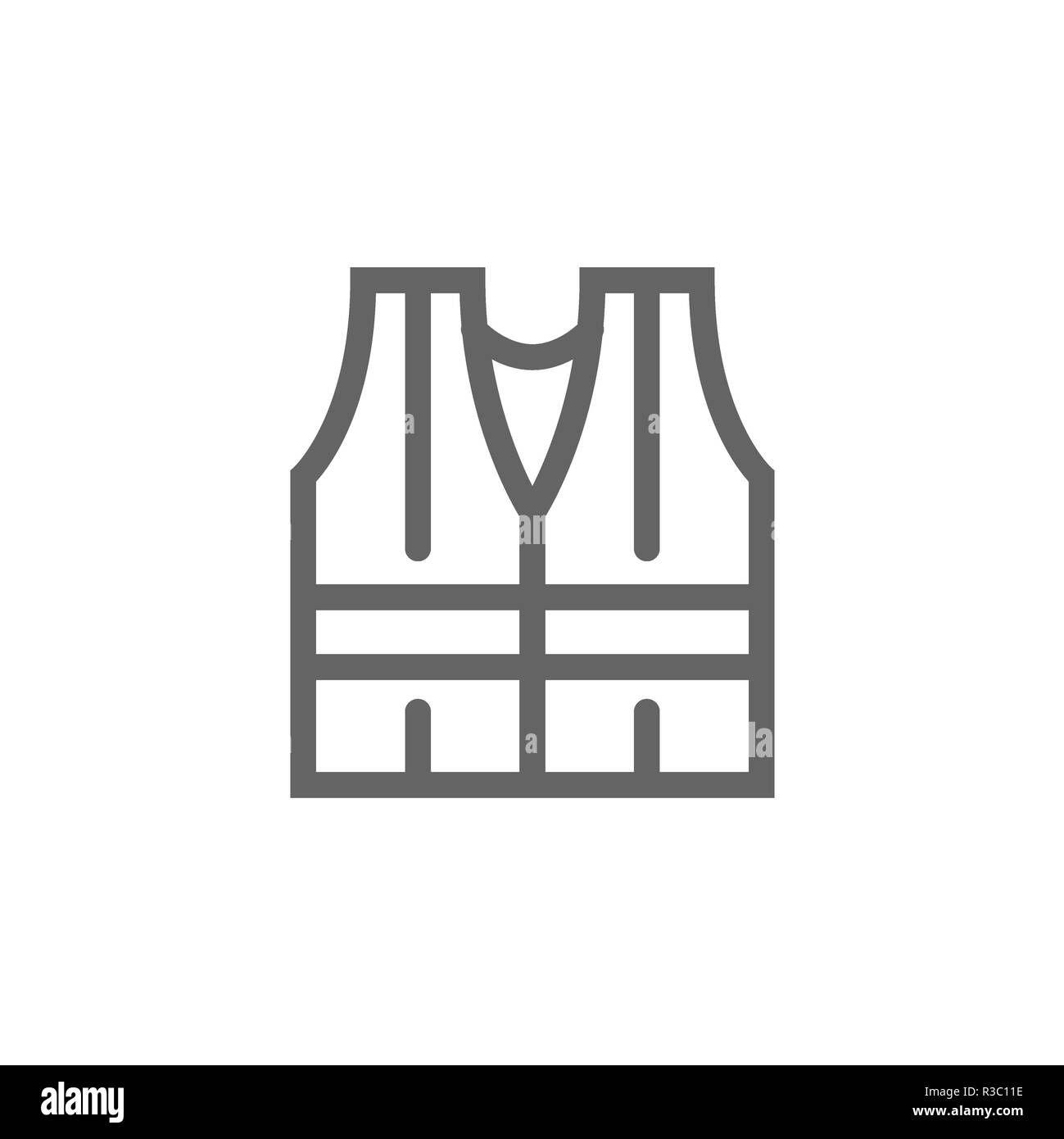 Simple safety vest icon. Symbol and sign illustration design. Isolated on white background - Stock Image
