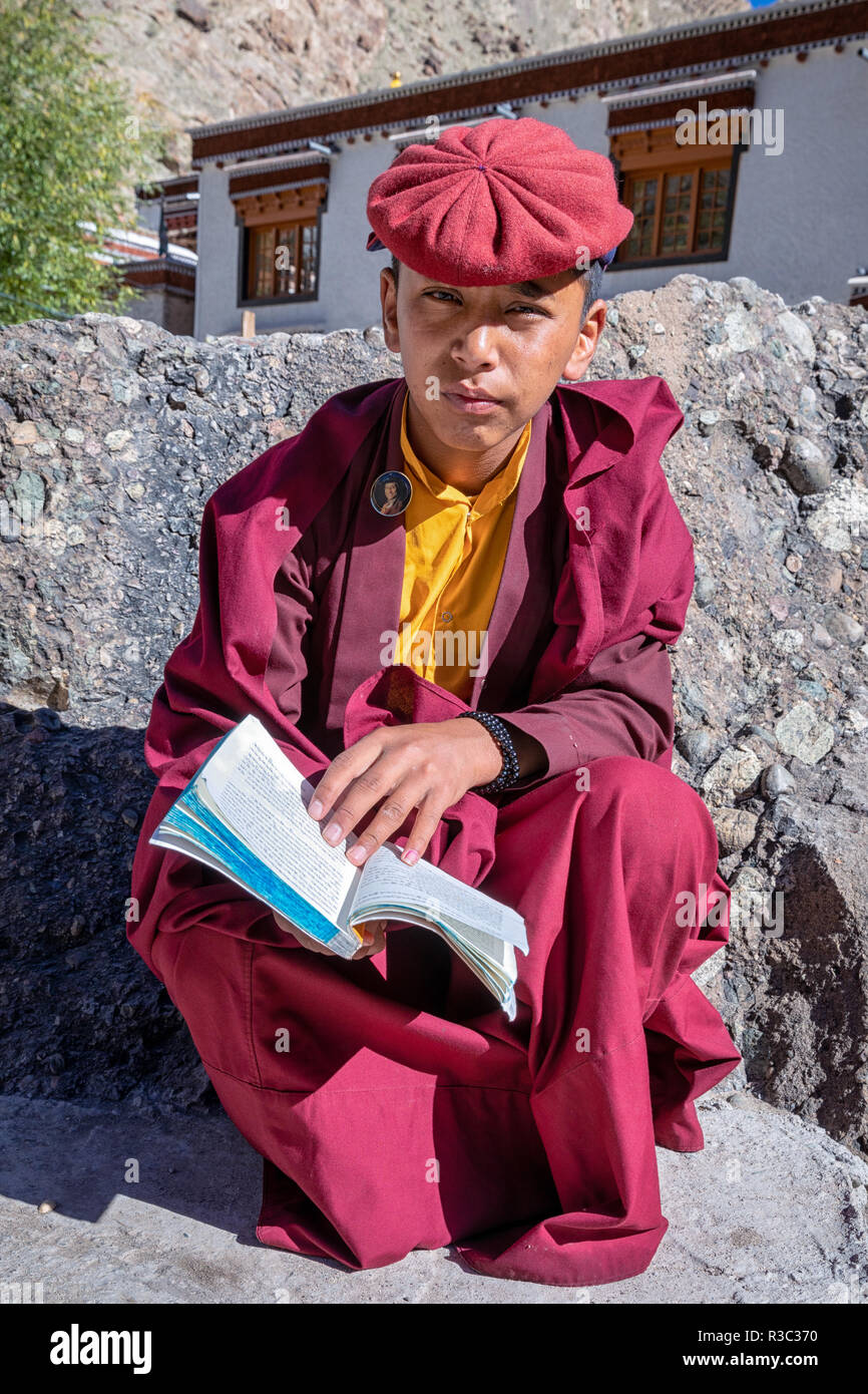 A young Buddhist monk at the Hemis Monastery, Ladkah, Kashmir, India - Stock Image
