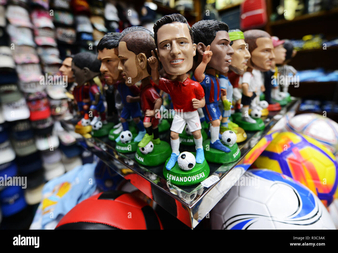Soccer players dolls sold during the world cup. - Stock Image