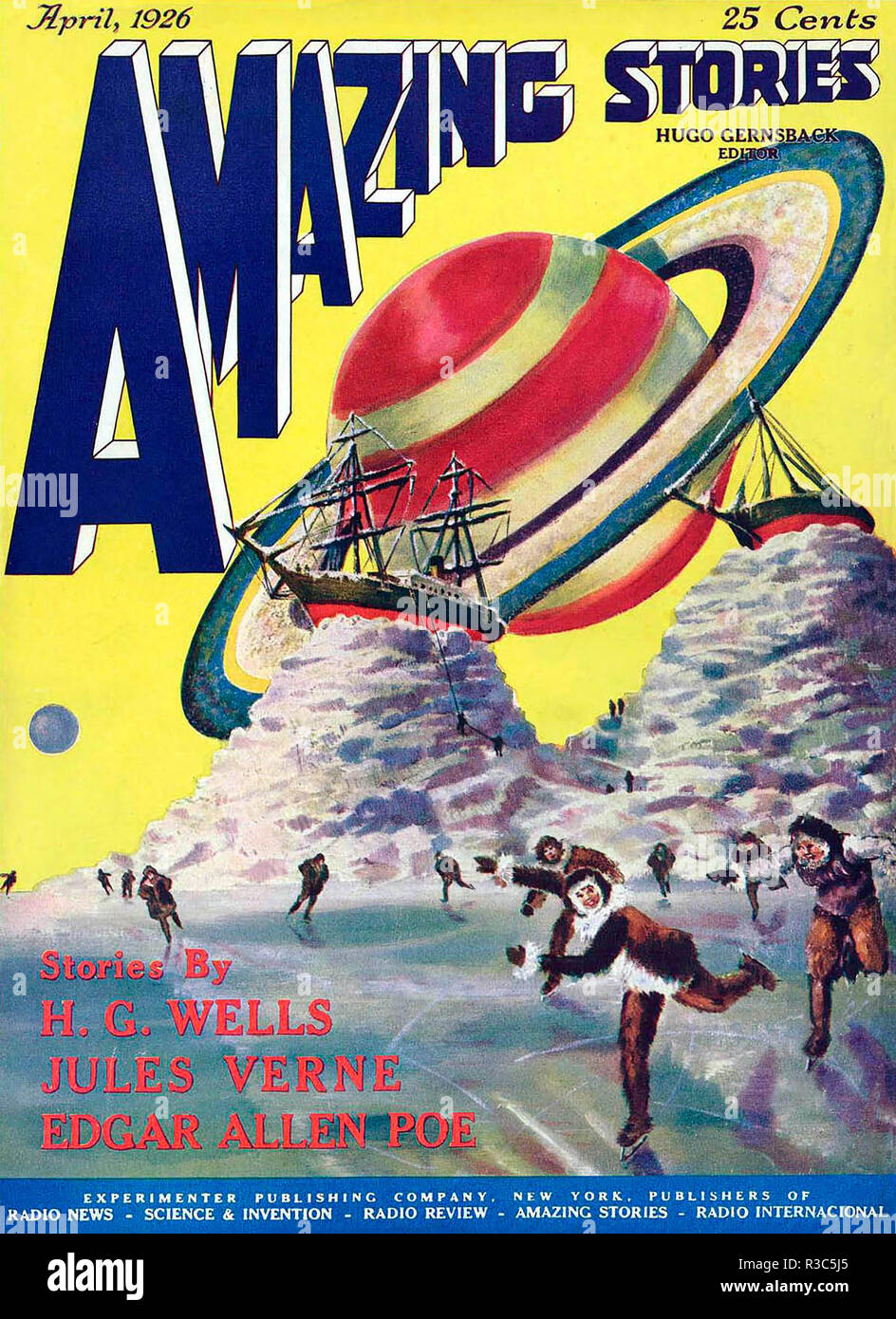 AMAZING STORIES American science fiction magazine cover April 1926 Stock Photo