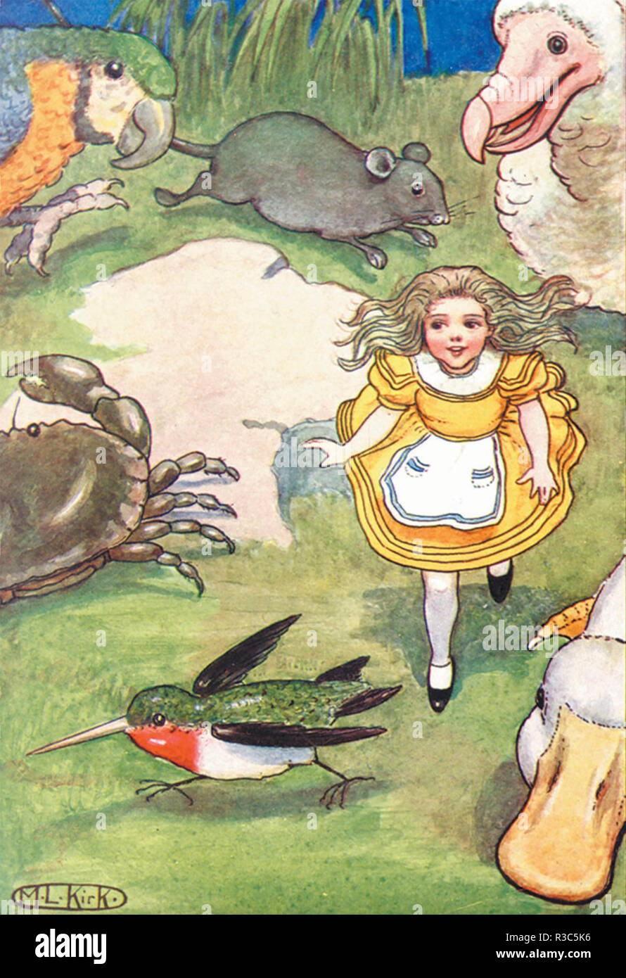 MARIA LOUISE KIRK (1860-1938) American illustrator. Art from her 1904 edition of Alice's Adventures in Wonderland - Stock Image