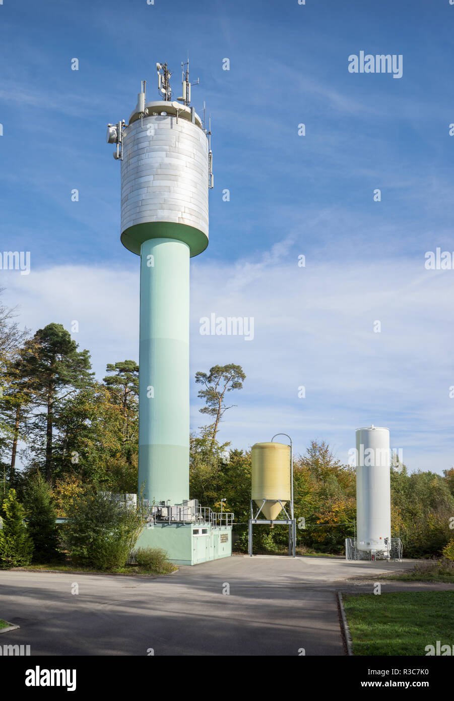 industrial plant with silo and tower Stock Photo