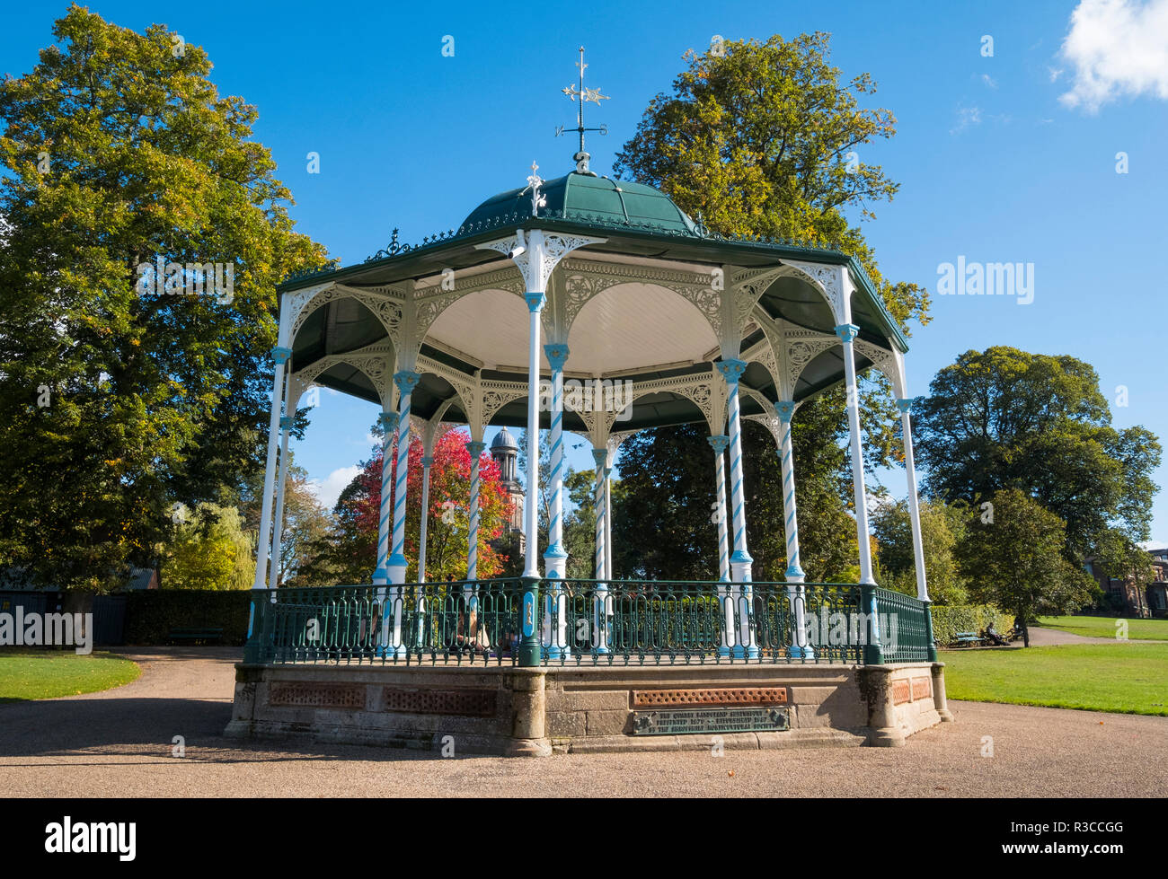 Victorian bandstand in the Quarry, Shrewsbury, Shropshire, England, UK - Stock Image