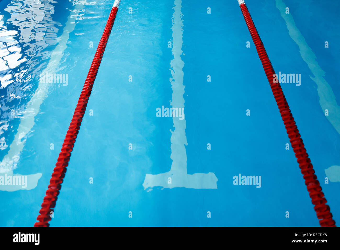 Photo from top of swimming pool with red dividers without ...