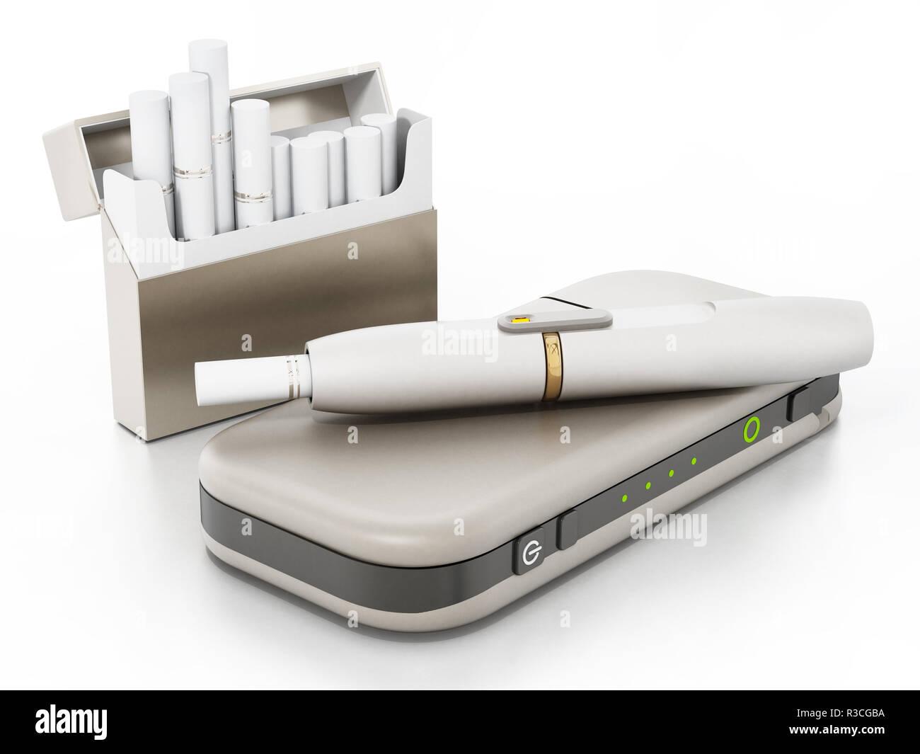 Electronic cigarette set isolated on white background. 3D illustration. - Stock Image