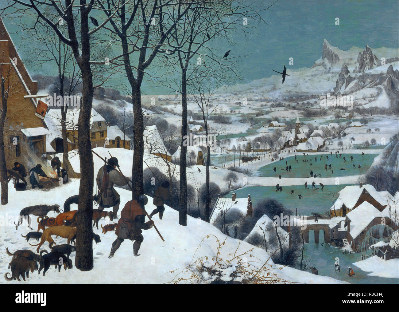 Monthly cycle, scene: The Hunters in the Snow (winter). Date/Period: 1565. Painting. Oil on oak panel. Height: 1,170 mm (46.06 in); Width: 1,620 mm (63.77 in). Author: Pieter Brueghel The Elder. PIETER BRUEGEL, THE ELDER. BRUEGEL THE ELDER, PIETER. Bruegel (Brueghel), Pieter, the Elder. - Stock Image