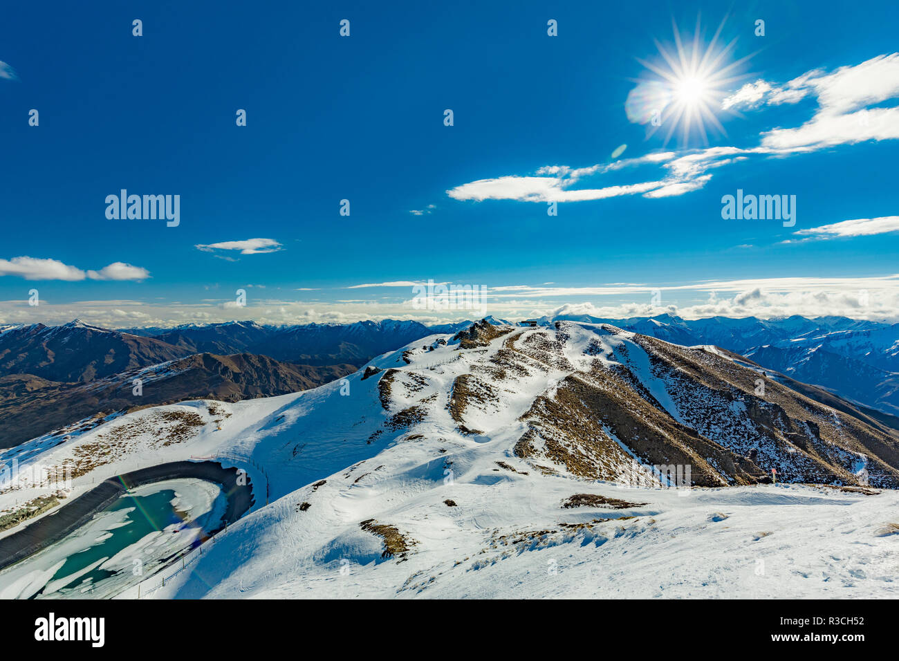 new zealand mountain panorama and snow ski slopes as seen from