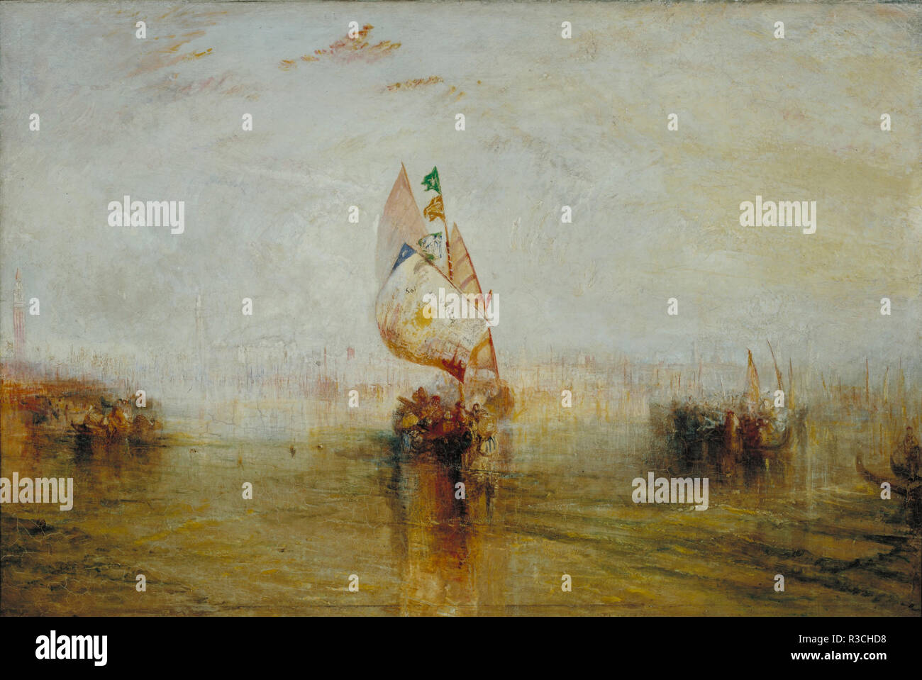 The Sun of Venice Going to Sea. Date/Period: 1843. Painting. Oil on canvas. Height: 616 cm (20.2 ft); Width: 921 cm (10 yd). Author: J. M. W. Turner. TURNER, JOSEPH MALLORD WILLIAM. Stock Photo