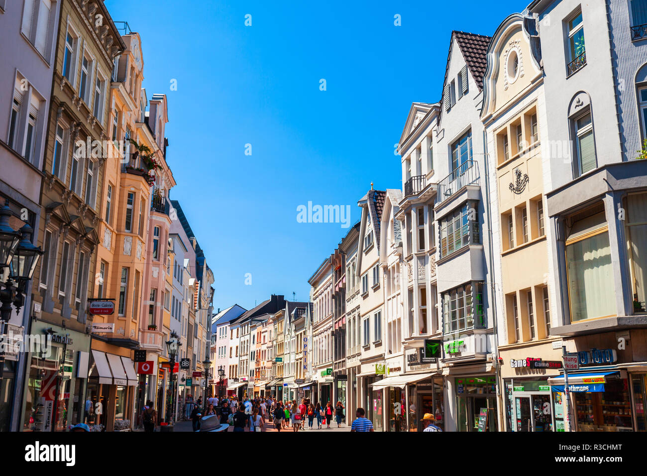 BONN, GERMANY - JUNE 29, 2018: Pedestrian street in the centre of Bonn city in Germany Stock Photo
