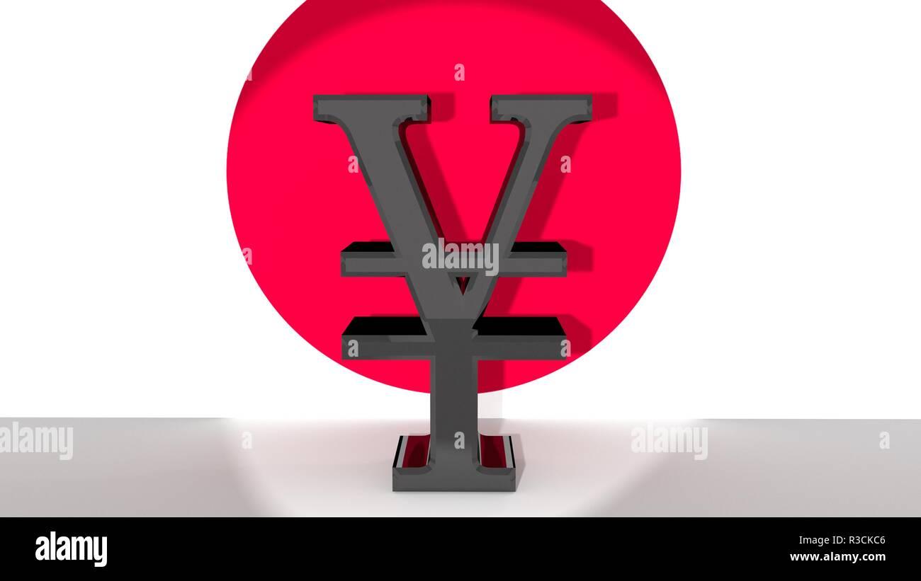 yen symbol in front of japanese flag - Stock Image