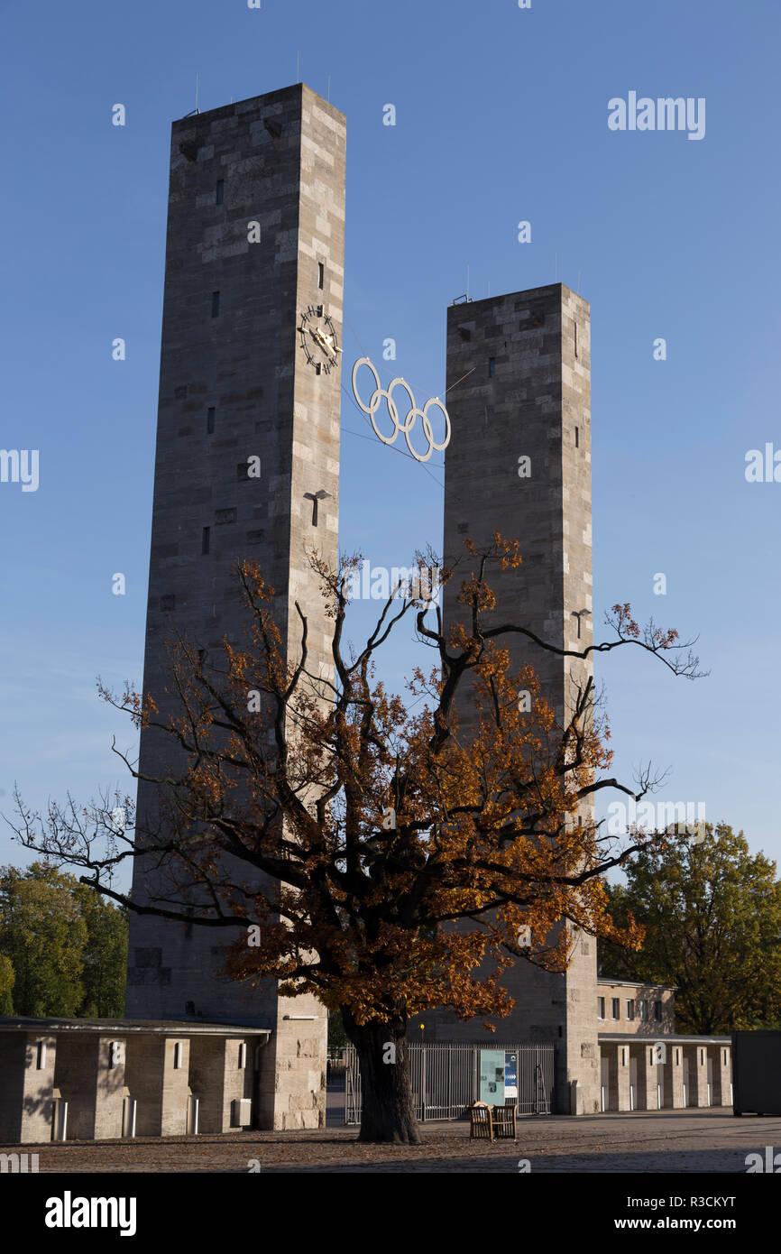 pillars of the olympic stadium - Stock Image