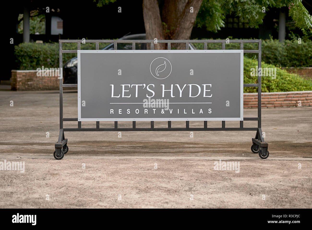 Lets Hide (Hyde) play on words resort name - Stock Image