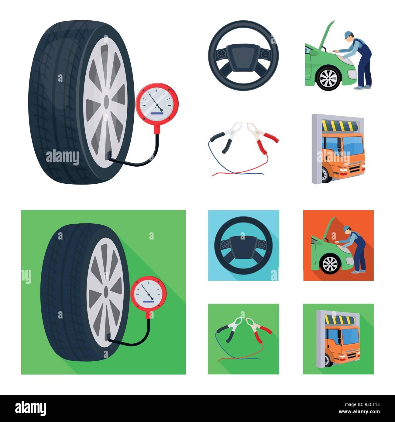 engine adjustment steering wheel clamp and wheel cartoon flat