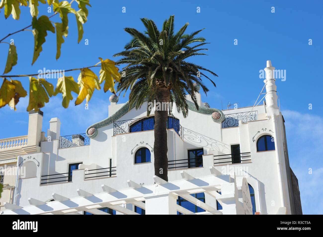 house facades in tossa de mar - costa brava - spain - Stock Image